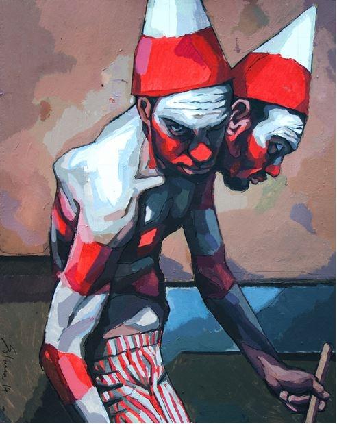 4. Hombre bicéfalo 1, Acrílico y grafito sobre papel, 2014