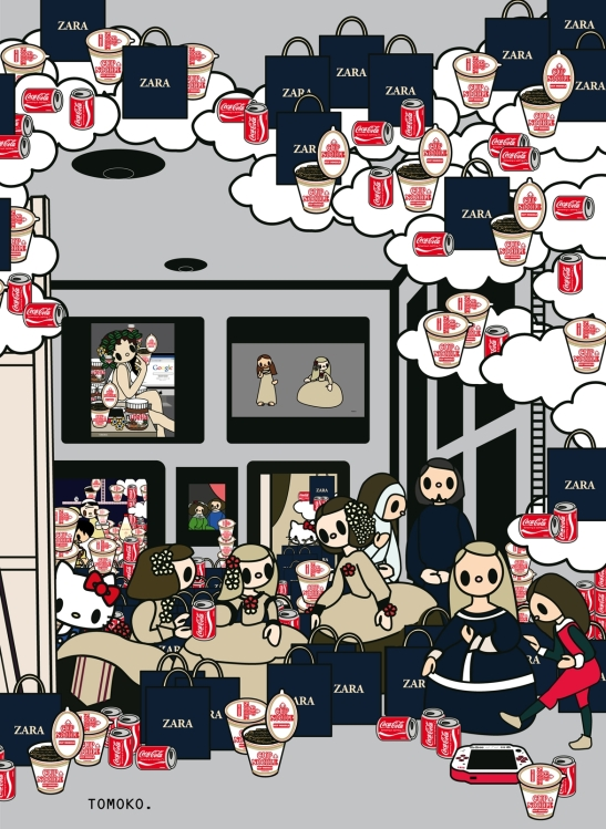TOMOKO 3. Las Meninas with cocacola,  cupnoodle, zara, kitty and PSP