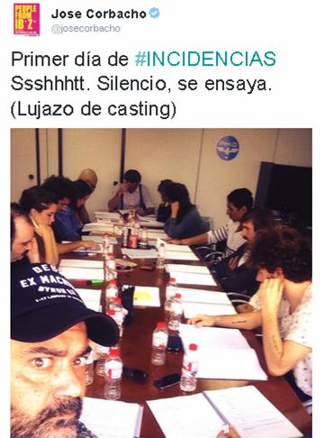 Imagen del Twiter de José Corbacho mostrando los ensayos previos al rodaje de `Incidencias´