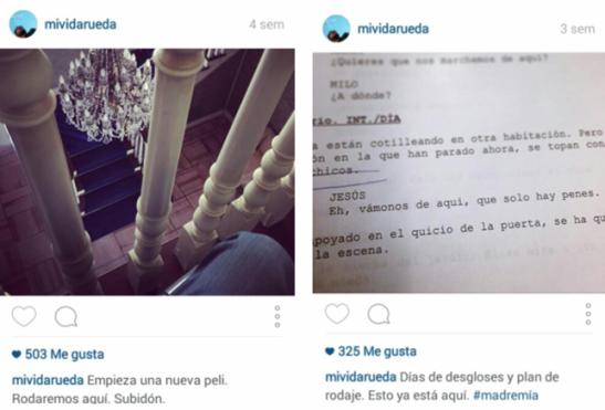 Fotografías del Instagram de Roberto Pérez Toledo en la preproducción de `Como la espuma´