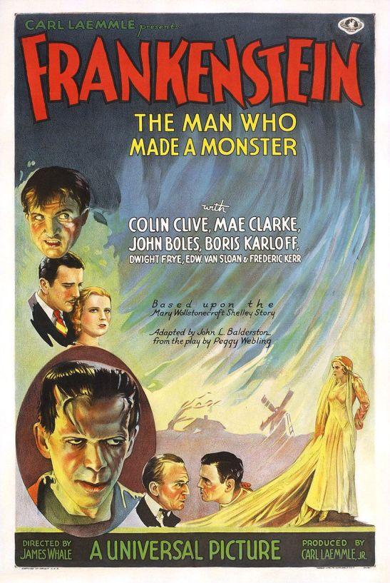 Póster de la versión cinematográfica de 1931 de Frankenstein (James Whale).
