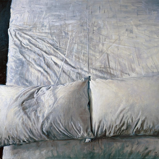empty bed, oil on linen, 91.5x91.5cm