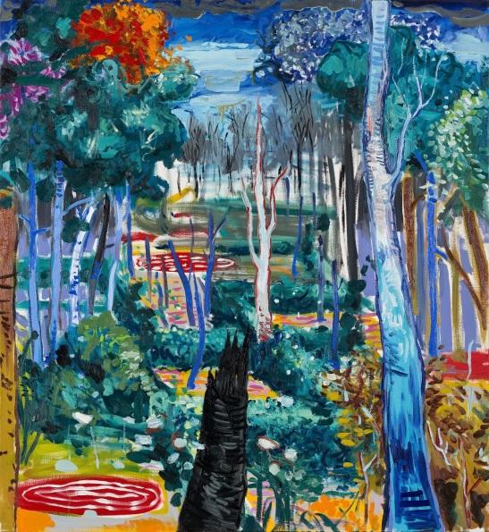 Abraham Lacalle, Jardín, 2016, óleo sobre lienzo, 163 x 150 cm