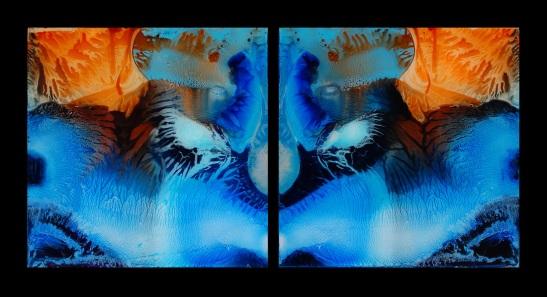 """Díptico """"Twins"""" - Mixta sobre metacrilato, 50x50 cm"""