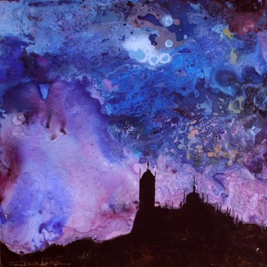 Remember Segovia - Mixta sobre cristal, 30x30 cm