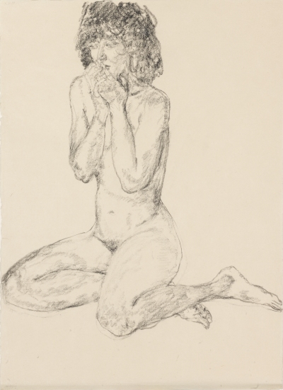 Avigdor_Arikha, Seated Nude, Legs Folded Behind Her, Hands Covering Her Mouth, 1999, carboncillo, 89x64,5cm