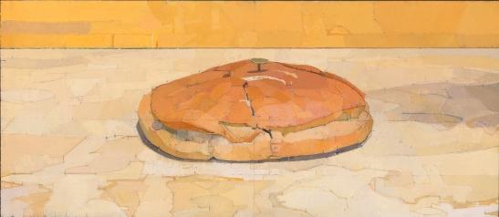 Euan Uglow, Loaf, 1981-83, óleo sobre lienzo, 34,8x79,5cm