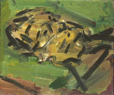 Frank-Auerbach, Reicling Head of Julia II, 2012, Acrílico sobre tabla, 44,2x52cm