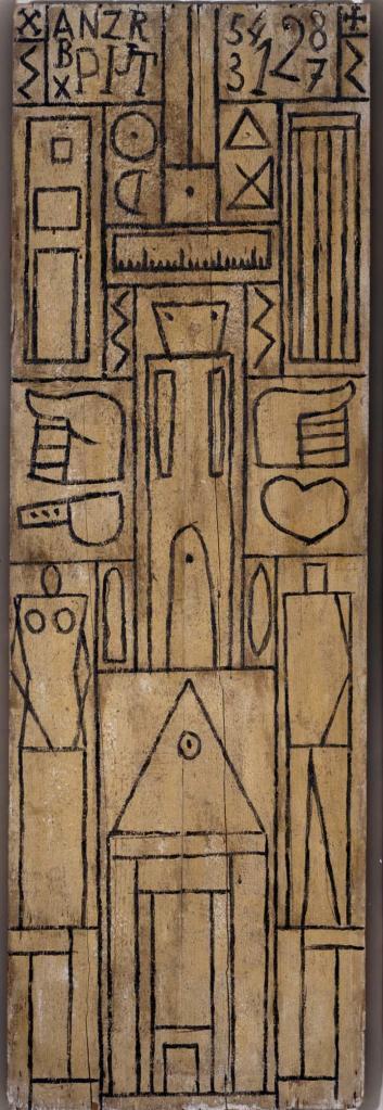 Grafismo constructivo. 1931. Témpera sobre madera. 156x50 cm