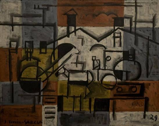 Paisaje constructivista, 1929. óleo sobre madera / tabla (80x100 cm) Museo Nacional de Artes Visuales, Montevideo. © Museo Nacional de Artes Visuales, Montevideo
