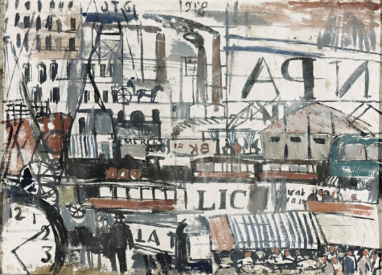 Ritmo de ciudad, 1918. Óleo sobre cartón. Colección privada Londres. 51,7x71,1 cm © Sucesión Joaquín Torres-García, Montevideo 2015 Photo courtesy of Sotheby's