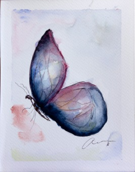 """""""Collecting Butterflies"""" Ana Traba de la Gándara. Acuarela y bolígrafo."""