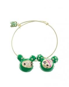 11 SANDy & Cactus Dog Crystal Studded Adjustable Wire Charm Bracelet